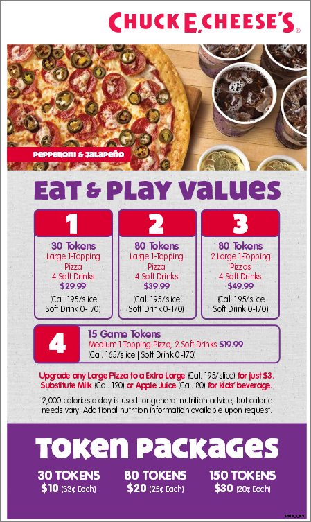 60 rows · The latest Chuck E Cheese's menu prices for you. Chuck E. Cheese's is a chain of family .