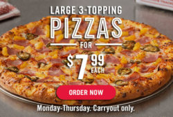 Dominos Large 3 topping pizza for 7.99 carryout